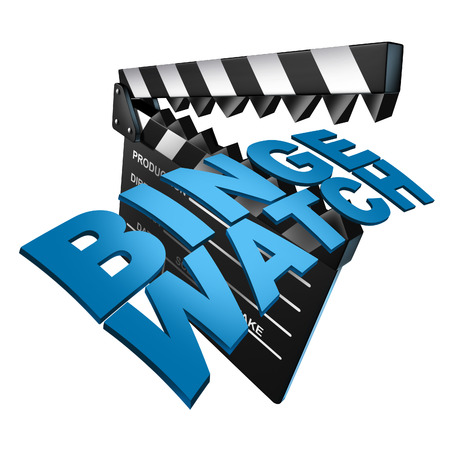 binge: Binging on media and binge watch or watching consecutive cable episodes of a television or consuming TV series or multiple movie on demand as a marathon viewing of video shows as a 3D illustration of a filmmaking clapboard.