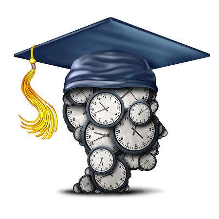時間管理トレーニングと卒業日付の概念時計 3 D イラストレーションとして学習効率のシンボルとしてモルタル ボードまたは大学院帽子と頭部とし 写真素材