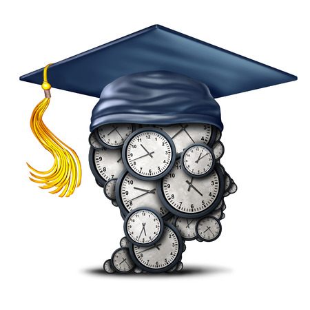 Time management training and graduation date concept as a group of clocks shaped as a human head with a mortar board or graduate hat as a symbol for efficiency learning as a 3D illustration.