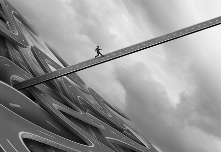 liberate: Escaping from trouble and navigate away from a crisis concept as a businessman running upward on a straight road to evade a falling and failing highway structure with 3D illustration elements.