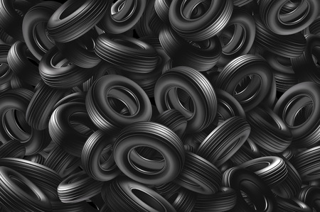 Tire background as a pile and heap of rubber automotive wheels in a landfill representing transportation equipment and car parts or environmental waste management as a 3D illustration.