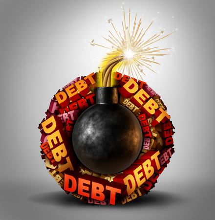 lending: Debt bomb business and finance concept as an explosive lit dynamite object with a group of text around it representing dangerous liability and financial deadline stress and vulnerability as a 3D illustration.