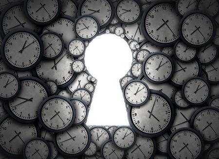 Tempo soluzione chiave in un gruppo di oggetti orologio a forma di come un buco della serratura aperta come una metafora successo per l'accesso e la gestione del fuso orario di programma di affari come illustrazione 3D. Archivio Fotografico