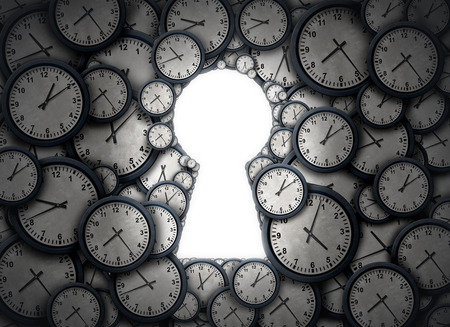 llaves: Tiempo principales de la solución como un grupo de objetos con forma de reloj como un ojo de la cerradura abierta como una metáfora de éxito para el acceso y control de zonas horarias de lo previsto negocio como una ilustración 3D.