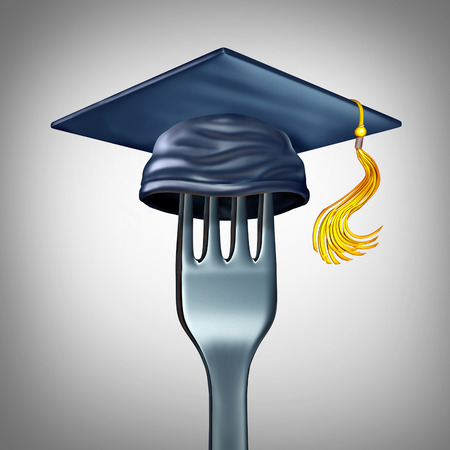 school class: Cooking school symbol and culinary arts training as a dinner fork with a graduation hat or mortar board cap as a gourmet cuisine education icon for chef teaching and  nutrition learning as a 3D illustration.