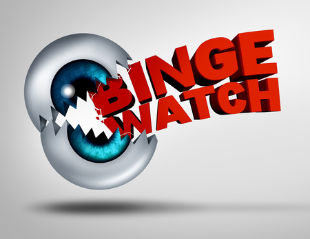 demand: Binge watch concept and watching consecutive cable episodes of a television or TV series or multiple movie on demand as a marathon viewing of video media as a 3D illustration of a human eye ball shaped as a mouth binging and biting into text.