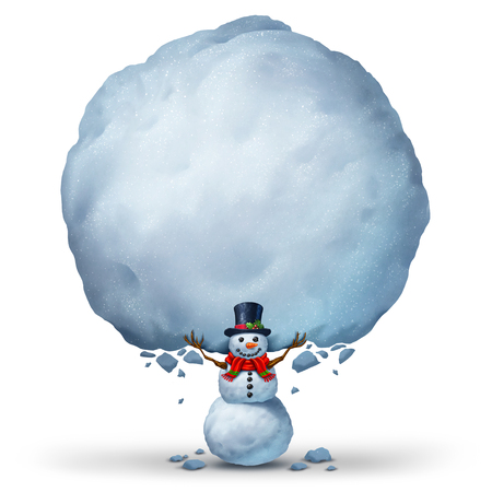 seasonal symbol: Snowman holding blank snow sign with copy space as a winter holiday celebration banner or a snow character holding up a snowball as a Christmas or cold seasonal symbol with 3D illustration elements.