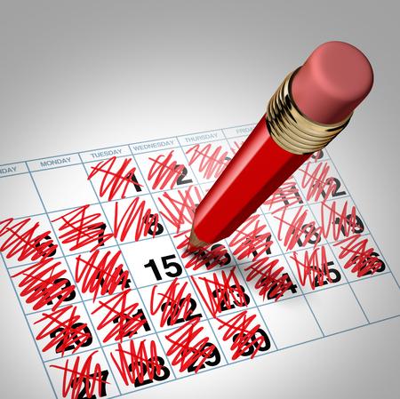 Drukke schema en de volledige kalender business management concept en de beperkte beschikbaarheid symbool of leegstand icoon als een 3D-afbeelding. Stockfoto