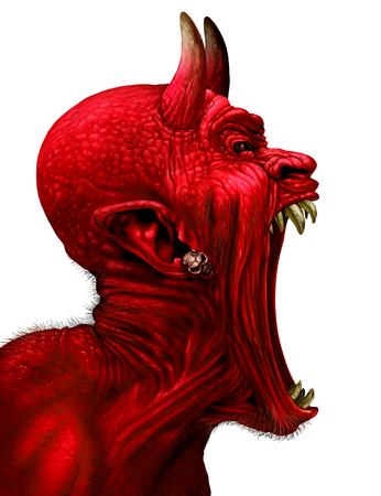 Devil schreeuwen karakter als een rode demon of monster sreaming met hoektanden en tanden met een open mond als een zijaanzicht horror gezicht geïsoleerd op een witte achtergrond met 3D-illustratie elementen.