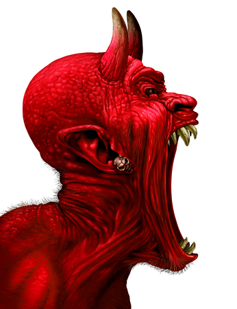anthropomorphic: Devil scream character as a red demon or monster sreaming with fangs and teeth with in an open mouth as a side view horror face isolated on a white background with 3D illustration elements. Stock Photo