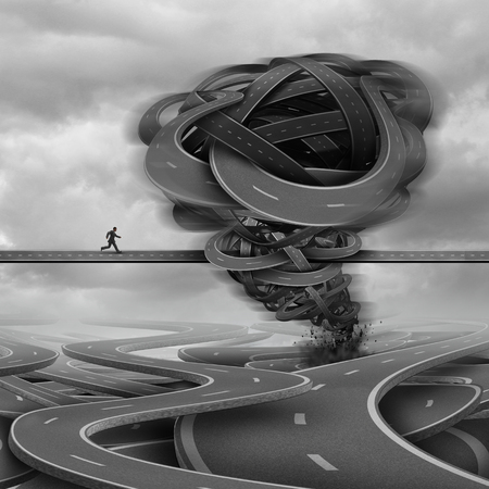 towards: Overcoming challenges business concept as a businessman trying to cross a path with a tornado obstacle made of roads in his way as a crisis and courage metaphor with 3D illustration elements.