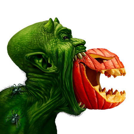 Monster eating jack o lantern pumpkin as a weird strange fiend biting into a carved pumpkin with spiders crawling on its back and as a halloween symbol with 3D illustration elements. Stock Photo