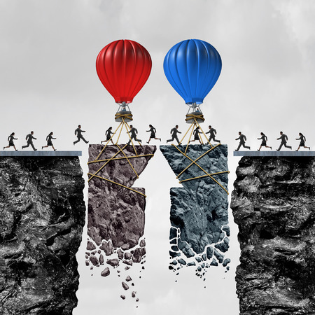 people connected: Business team coordination or political bipartisan support and group connection success as people connected by a limited time opportunity with balloons connecting a bridge for a successful exchange with 3D illustration elements. Stock Photo