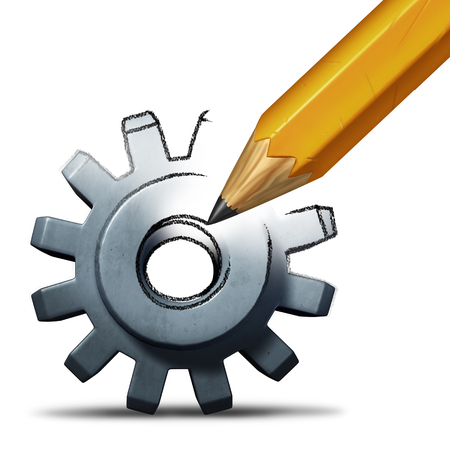 la reparación del asunto y concepto de recuperación como un lápiz de dibujo un engranaje o rueda dentada como una industria y el símbolo de éxito financiero o la invención imaginación con elementos de ilustración 3D. Foto de archivo