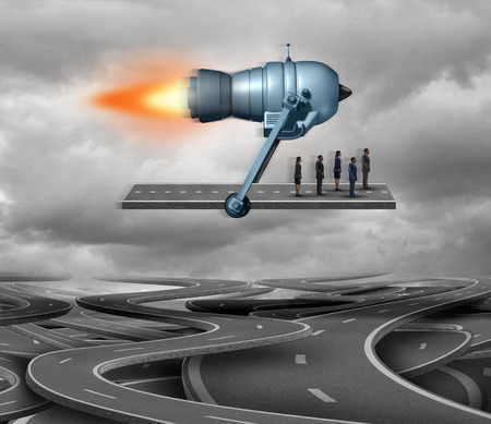 Fast track and direct route concept or business travel symbol as piece of road being thrusted by a rocket engine transporting businesspeople as a corporate achievement symbol with 3D illustration elements. Stock Photo