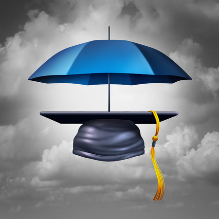 schooling: Education protection and teaching shelter for literacy and learning as a graduation hat or mortar cap protected by an umbrella as a symbol for guarding academic schooling and providing security to students as a 3D illustration.