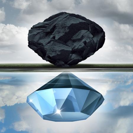 Bewertungs Vision die Möglichkeiten der Wert Chance, als Reichtum finanzielle Visualisierungskonzept als Stein oder Kohle machen eine Reflexion im Wasser eines kostbaren Diamanten mit 3D-Darstellung Elemente zu sehen. Standard-Bild - 64818704