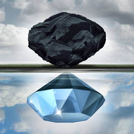 valuation: Valuation vision seeing the possibilities of value opportunity as a wealth financial visualization concept as a rock or coal making a reflection in the water of a precious diamond with 3D illustration elements.