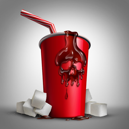 sugar cube: Soda sugar risk as a cup with cola inside as a drop of liquid shaped as a skull as a metaphor for the health issues of drinking sweet drinks with 3D illustration elements.