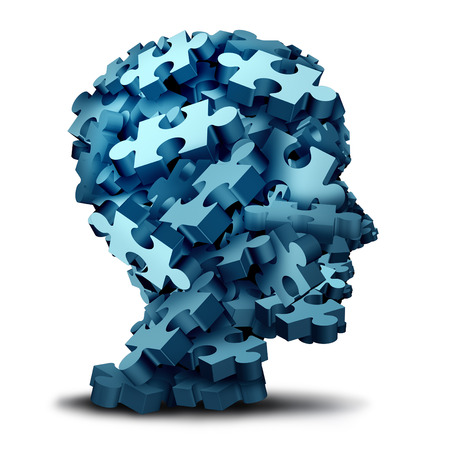 Psychology puzzle concept as a a group of 3D illustration jigsaw pieces shaped as a human head as a mental health symbol for psychiatry or psychology and brain disorder icon on a white backbround. Standard-Bild