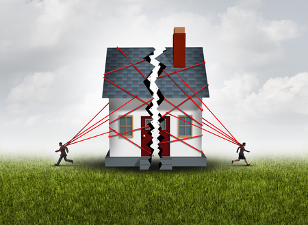 relationship: Broken family after a bitter divorce settlement and separation with a couple in a bad relationship breaking a house apart showing the concept of a marriage dispute and dividing assets with 3D illustration elements.