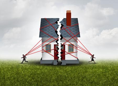 Rozbitej rodziny po gorzkim rozliczeniem rozwodu i separacji z kilku w złych stosunkach łamanie domu oprócz pokazujący ideę sporu małżeńskiego i podzielenie aktywów z elementami 3D ilustracji. Zdjęcie Seryjne