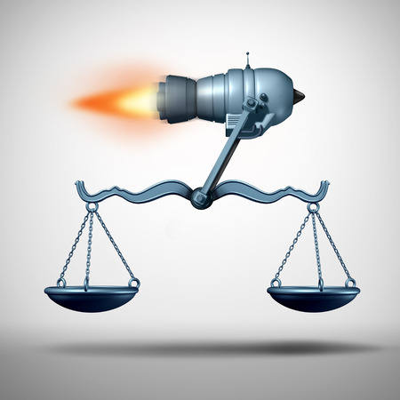 Fast track law service and lawyer services concept as a rocket moving a justice scale as a symbol of the quick legal advice or timely passage of government legislation and enforcing rights and regulations as a 3D illustration.