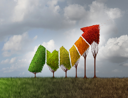 maturity: Investing during autumn season as a group of trees shaped as a financial profit arrow that are changing leaf color as a finance symbol of aging investment and limited potetial losing momentum with 3D illustration elements.