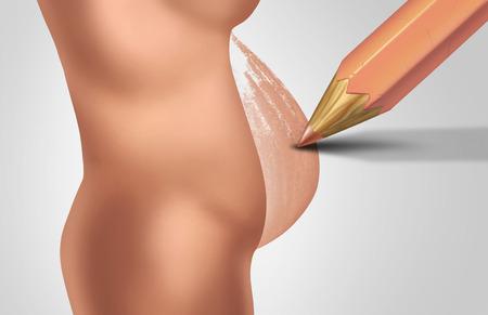 3 D イラストレーションの要素を持つ将来の妊娠中の母親の産婦人科や産科のシンボルとして女性のおなかの赤ちゃんバンプを描画鉛筆で妊娠と女性