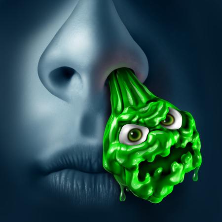 nariz: El moco mocos concepto como un goteo de la nariz con el líquido verde en forma de un monstruo contagiosa que gotea fuera de una ventana de la nariz como un símbolo para la enfermedad médica sinusal o infección nasal con elementos de ilustración 3D.