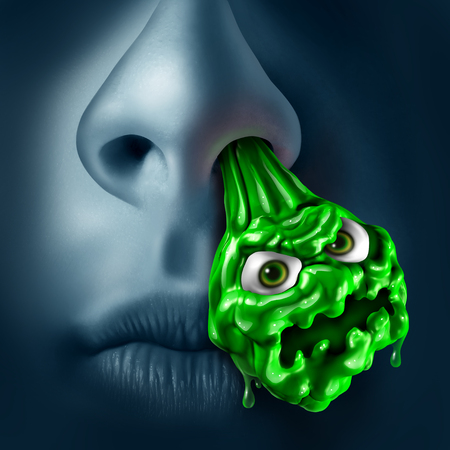 contagious: Mucus snot concept as a runny nose with green liquid shaped as a contagious monster dripping out of a nostril as a medical illness symbol for sinus or nasal infection with 3D illustration elements. Stock Photo