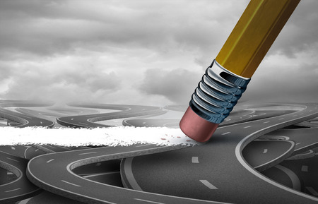 Concept of solution as a pencil erasing a clean pathway across a confused group of streets as a business success metaphor for clearing a path to freedom as a 3D illustration.