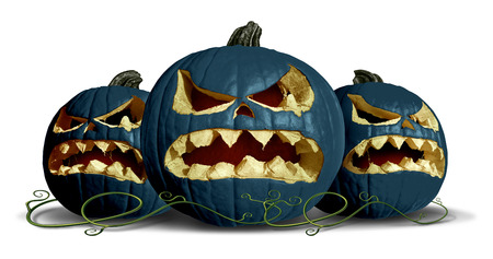goth: Goth pumpkin Halloween as black squash group with three pumpkins on a white background as a concept and symbol for a creepy advertisement and marketing announcement for a harvest time party with 3D illustration elements.