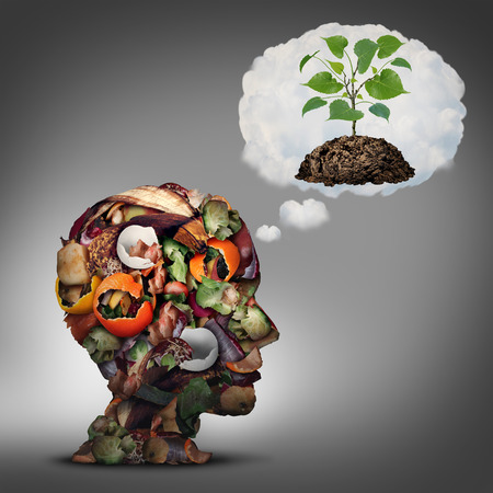 renewing: Compost plan and composting planning as a pile of rotting fruits egg shells and vegetable food scraps shaped as a human head dreaming of soil with a sapling growing.