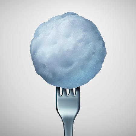 boule de neige: la nourriture d'hiver et le menu de saison froide comme une fourchette dans une boule de neige gelée ou boule de neige comme une cuisine de saison régime alimentaire avec des éléments d'illustration 3D. Banque d'images
