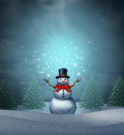 Magical Snowman urlop zimowy jako Wesołych Świąt i Szczęśliwego nowego roku karty z pozdrowieniami z cute szczęśliwy śnieg charakter ze świecącymi Northern Lights błyszczy płatka śniegu w krajobrazie wiecznie z elementami 3D ilustracji. Zdjęcie Seryjne