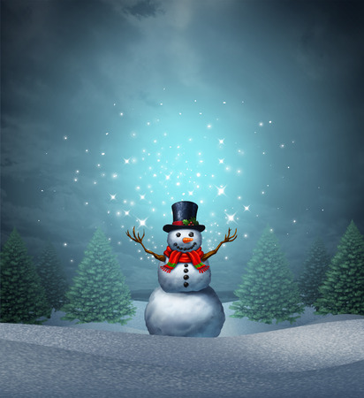 Magical snowman winter holiday as a merry christmas and happy new year greeting card with a cute happy snow character with glowing  northern lights snowflake sparkles in an evergreen landscape with 3D illustration elements. Stock Photo