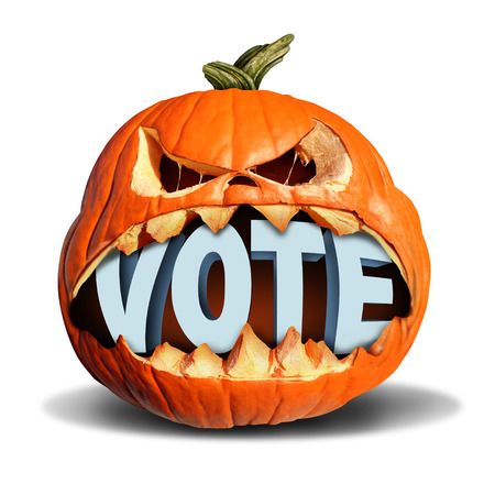vote symbol: Autumn election vote symbol as a jack o lantern pumpkin biting into a 3D illustration of text as a presidential voting symbol or a seasonal fall  voter icon or halloween costume contest. Stock Photo