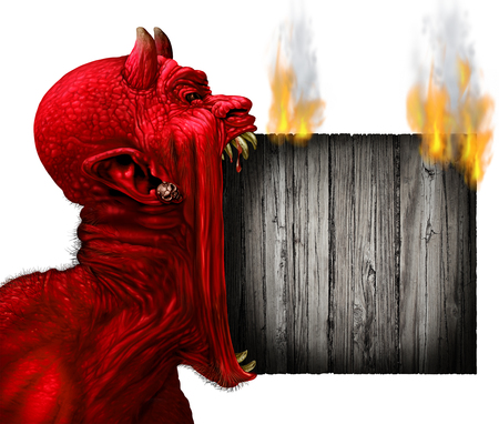 horror face: Devil head sign with burning rusticwood Devil scream character as a red demon or monster screaming with fangs and teeth with in an open mouth as a side view horror face isolated on a white background with 3D illustration elements. Stock Photo