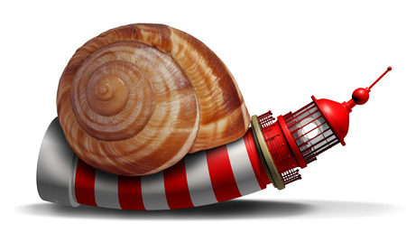Slow guidance concept and stagnant direction guide with a lighthouse or light house shaped as a snail as a business symbol of delayed strategy information with 3D illustration elements. Stock Photo