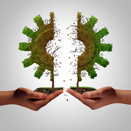 protectionism: Business failure and partnership separation as human hands rearing apart a tree shaped as an industry gear symbol as a corporate metaphor for financial split and economic division resulring in weakness with 3D illustration elements. Stock Photo