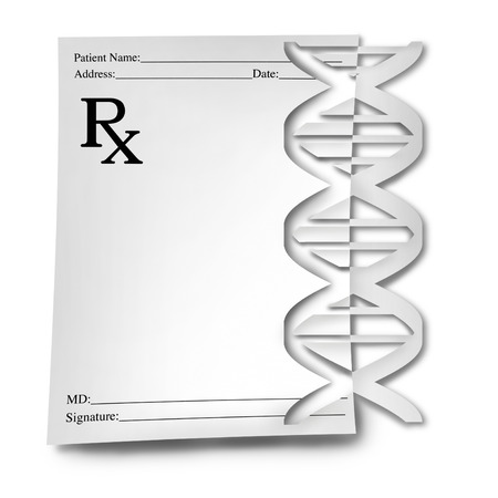 DNA medicine medical concept as a genetic prescription medication with a doctor note paper as a helix with a genome symbol cut out of the paper as a 3D illustration.