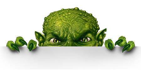 Monster leerlo detrás de un cartel en blanco como un zombi espeluznante verde escondite mutante enojado y asomándose detrás de una valla publicitaria como un concepto mensaje de Halloween en un estilo de ilustración 3D. Foto de archivo