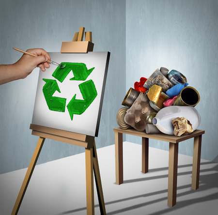 environmentalist: Recycling concept as a pile of recyclable trash as plastic,metal and paper with a creative environmentalist painting a recycle symbol on a canvas with 3D illustration elements. Stock Photo