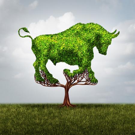 雄牛市場成長金融と肯定的な投資の成功の概念形の株式市場の上昇と利益または 3 D の図要素と環境ビジネス投資家アイコンのシンボル ツリーとし