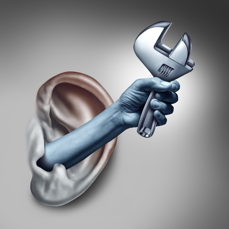 auditory: Ear therapy as a medicine medical concept as the hand of a doctor or health specialist treating the human hearing organ as a physician performing an examination for auditory symptoms holding a wrench as a symbol with 3D illustration elements.