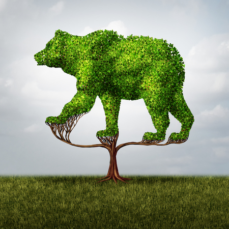 conservative: Growing bear market and financial and negative investing failure concept as a tree shaped as a symbol for stock market loss and debt or conservative environmental business investor icon with 3D illustration elements. Stock Photo