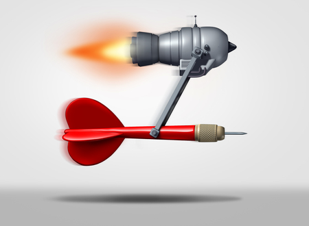 Search engine optimization or seo symbol as a red dart powered by a flying power motor  as a technology icon for faster internet service searching and optimized targeted online marketing as a 3D illustration. Фото со стока