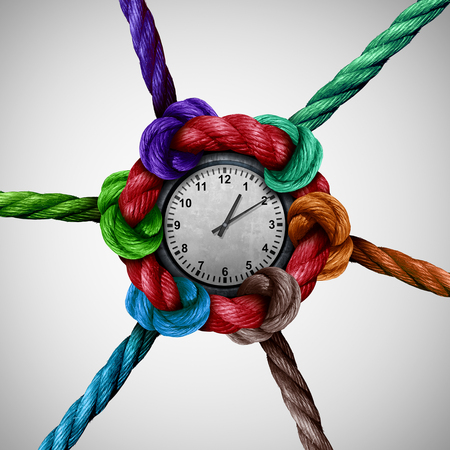 synchronize: Time nettwork social work coordination as a group of ropes tied and connected together to a central clock as a business organization metaphor or event planning icon with 3D illustration elements. Stock Photo