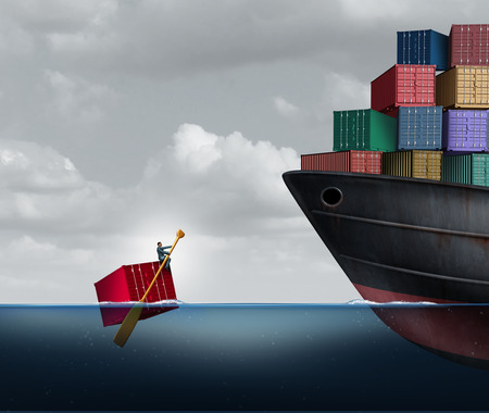Trade deficit business concept as a freight liner transporting huge cargo contrasted with one businessman rowing a single container in the ocean as an economic imbalance metaphor with 3D illustration elements.